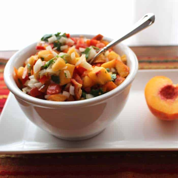 Peach Salsa. Simple and scrumptious.
