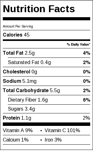 Tomato Red Pepper Salad Nutrition Label. Only 45 calories per serving. Each serving is about 1/4 cup.