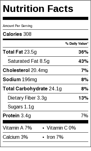 Sweet Gluten Free Pie Crust Nutrition Label. Each serving is 1/6 a pie crust. (Add the filling nutrition for a total value.)
