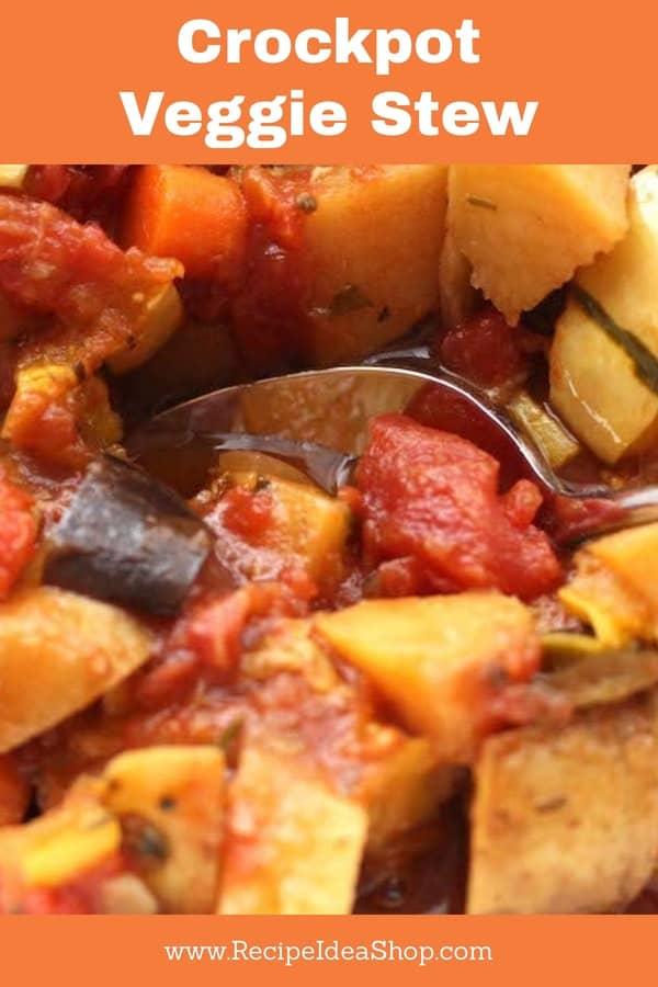 Crockpot Veggie Stew using Delicatata Squash and Roasted Veggies. So friggin good. #crockpotveggiestew; #veggiestew; #veganrecipes; #glutenfree; #recipes; #recipeideashop