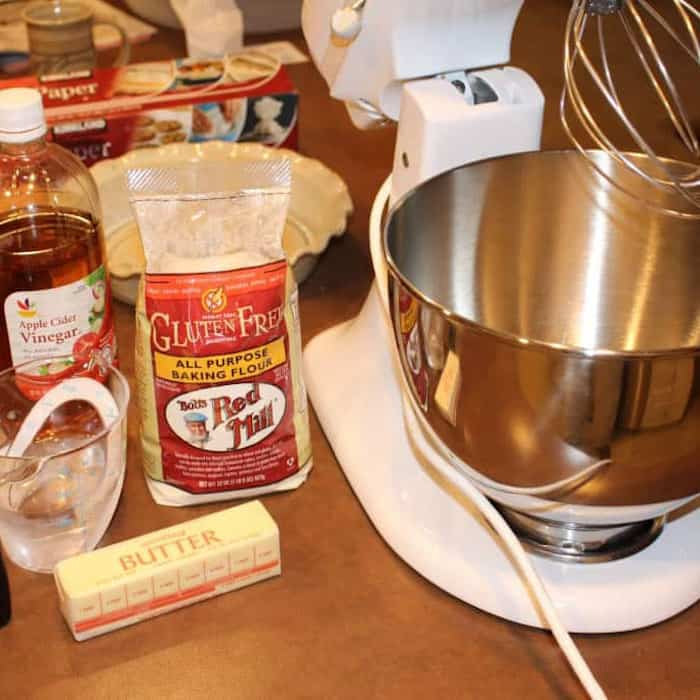 What you need to make the Gluten Free Pie Crust for Sweet Pies.