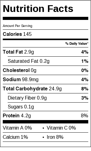 Basic White Bread Nutrition Label. Each serving is one slice of bread.