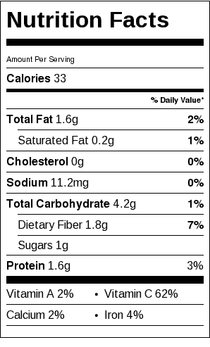 Brussels Sprouts Almandine Nutrition Label. Each serving is 1/4 cup, or about 4-5 small Brussels sprouts.
