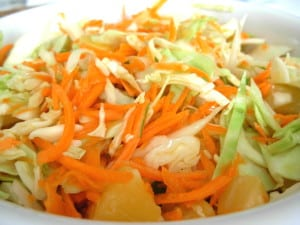 Cabbage, Carrots, Pineapple Slaw