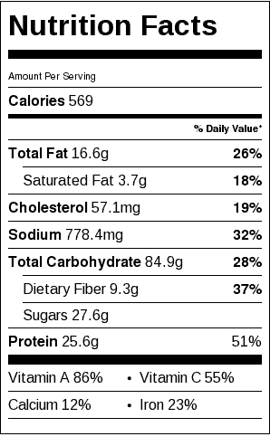 Chicken, Squash and Barley Casserole Nutrition Label. Each serving is about 1 cup.