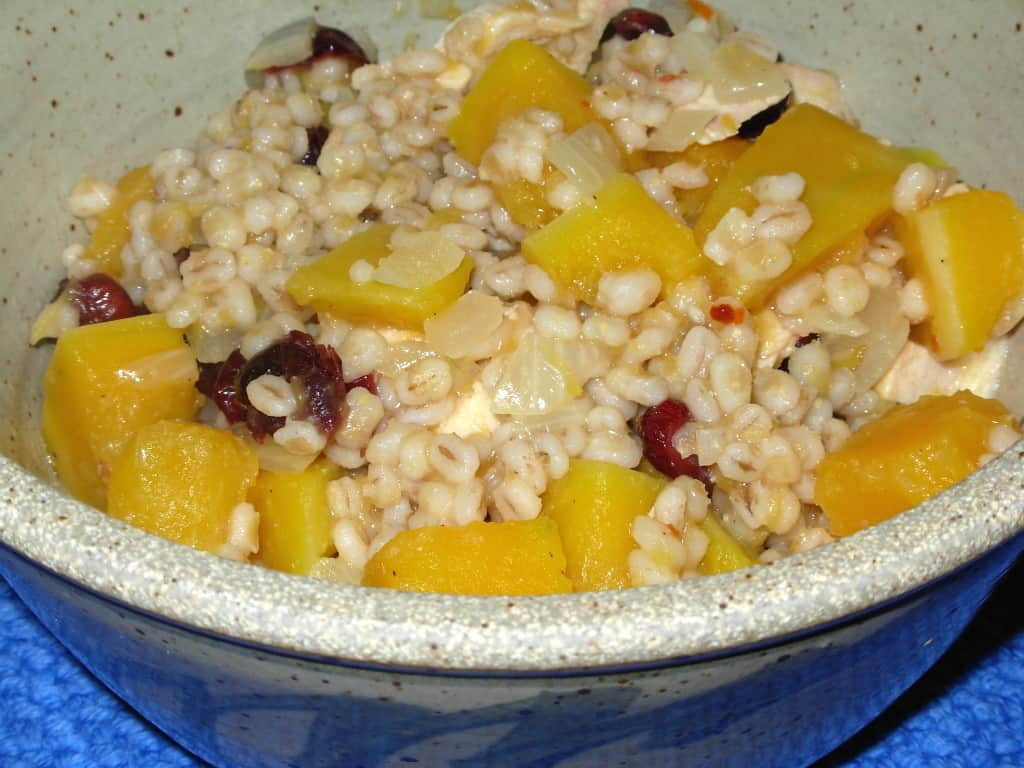 Chicken, Squash and Barley Casserole.