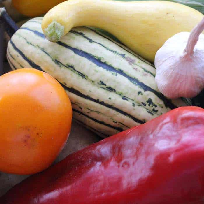 The Delicatata Squash is the green striped the vegetable in this image. Delicatata squash image.