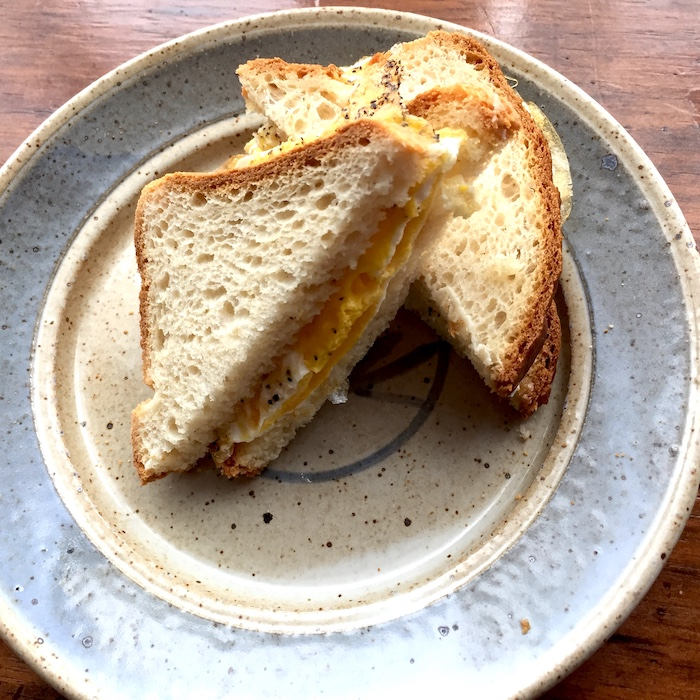 Make your egg sandwich with one or two fried eggs. Add cheese if you like it.