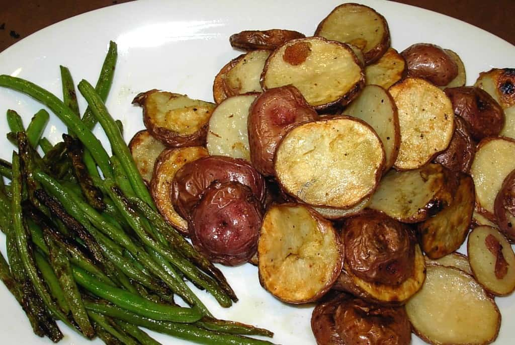 Grilled Green Beans and Potatoes