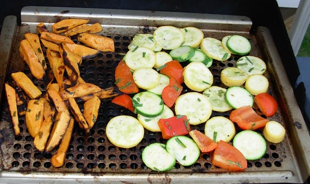 Grilled Sweet Potatoes, Zucchini and Peppers