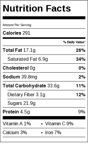 Peach Crisp Nutrition Label. Each serving is about 1/2 cup.