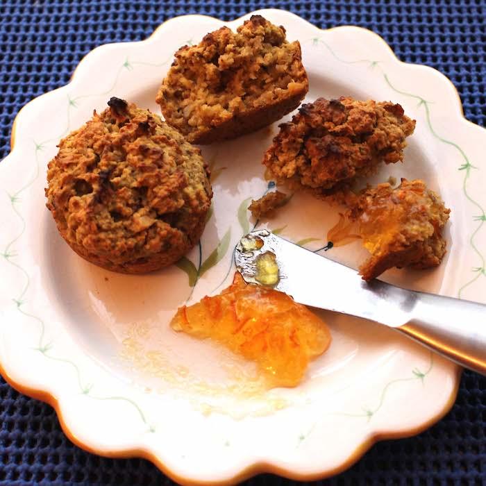 Oatmeal and pumpkin make this Gluten Free Pumpkin Muffin full of fiber.