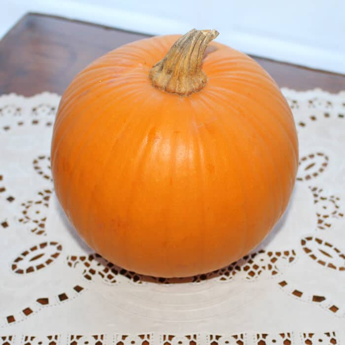 Look at the beautiful pie pumpkin.