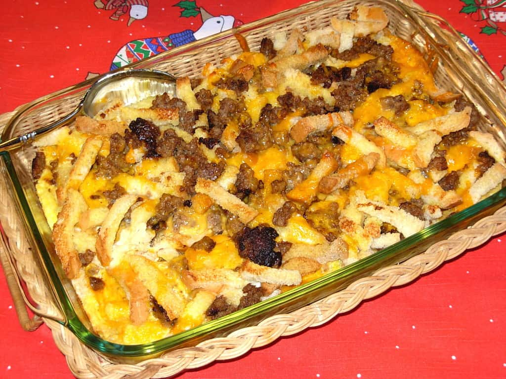 Momma Betty's Sausage Egg Casserole. Make it the night before and bake it in the morning. Very tasty.