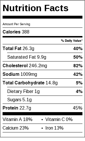 "Momma Betty's Sausage Egg Casserole Nutrition Label. Each serving is about 3"" x 4"" slice."