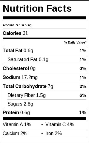Baked Spaghetti Squash Nutrition Label. Each serving is 1/4 squash.