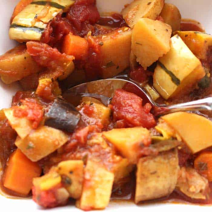 Crockpot Veggie Stew super good, especially on a rainy day.