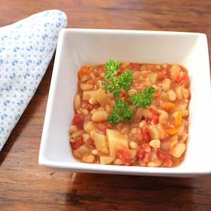 White Bean and Barley Stew. Tasty!