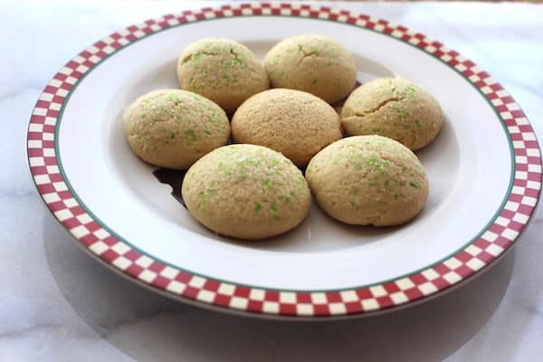 Gluten Free Danish Sugar Cookies, using 4 cups of flour and baking for 9 minutes. Too dry! Use 3 cups instead.