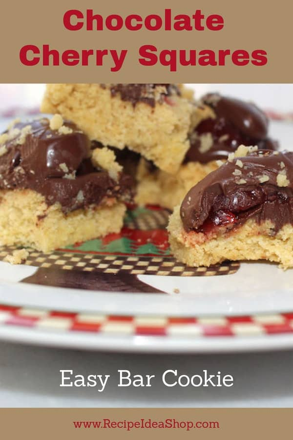 These cookies make you look like a star. Beautiful on the plate; delicious in your mouth! #chocolatecherrysquares; #barcookies; #chocolatecherrycookies; #chocolatecoveredcherries; #recipes; #recipeideashop