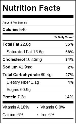 Don's Chocolate Pecan Pie Nutrition Label. Each serving is 1/8 a pie.