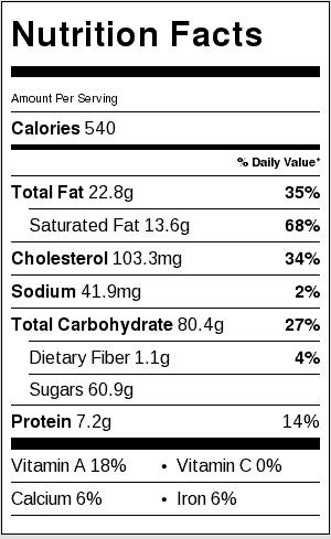 Recipe Nutrition Label. Each serving is 1/8 a pie.
