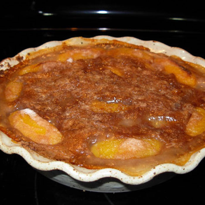 Have you ever made a peach pie with canned peaches? Yum!
