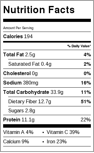 Middle Eastern Black Bean Ful Nutrition Label. Each serving is about 3/4 cup.
