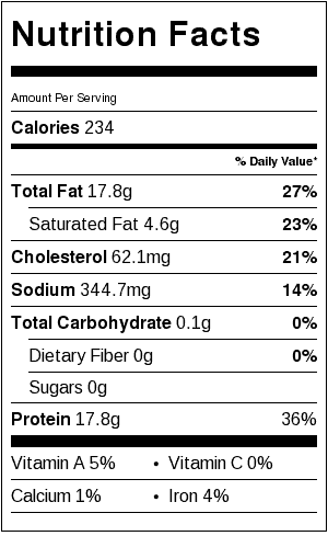 Chicken Kabobs Nutrition Label. Each serving is about 3 ounces of chicken, roughly 12 kabobs.