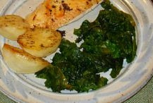 Wilted Kale, shown with Oven Browned Potatoes.