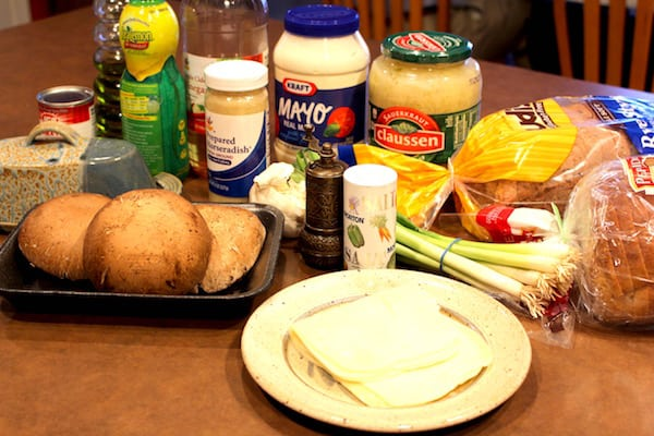 Most of the ingredients for Grilled Portabella Reuben Sandwiches. Missing the tabasco sauce and tomato.