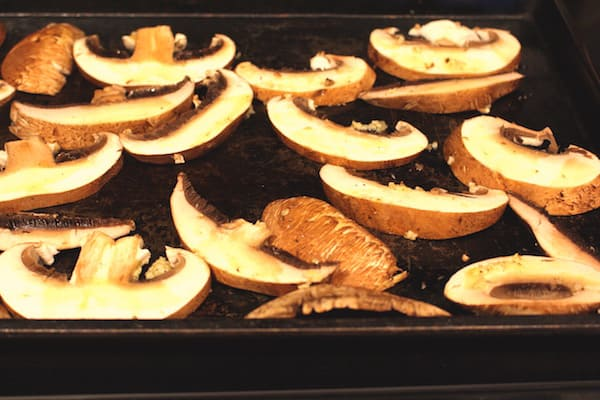 Roast the portabellas, drizzled with the oil mixture, about 5 minutes a side.