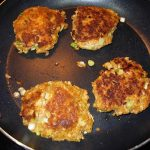 Salmon patties quickly brown and cook in a sauté pan.