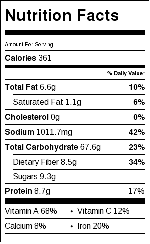 Sweet Potato Rice & Black Beans Nutrition Label. Each serving is about 1 cup.