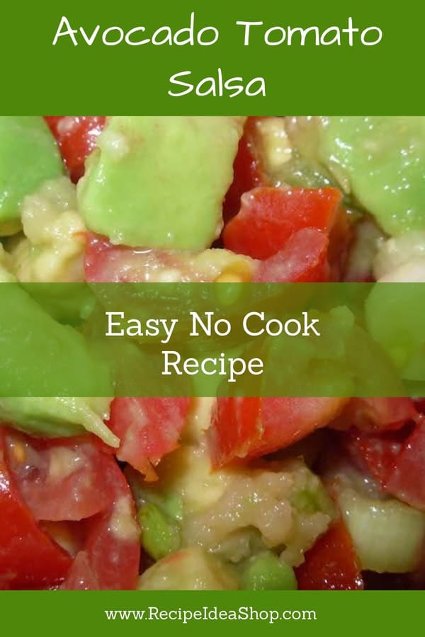 How about a creamy salsa? YUM! Avocado Tomato Salsa. Great alone, with chips or as a topping for your favorite beans or lentils. #avocadorecipes #avocadotomatosalsa #nationalmeatoutmonth #cincodemayo #tacotuesday #veganrecipes #vegetarianrecipes #vegan #glutenfree #recipes #recipeideashop