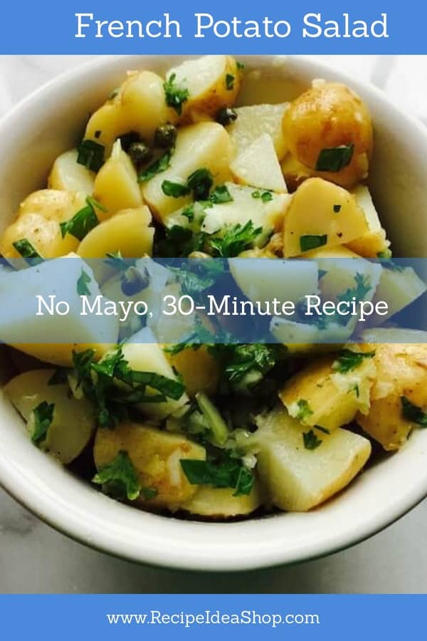 French Potato Salad, perfect for picnics or anytime. No mayo. #Frenchpotatosalad #potatosaladrecipes #picnicrecipes #potatorecipes #beelegant #elegantrecipes #recipes #glutenfree #recipeideashop