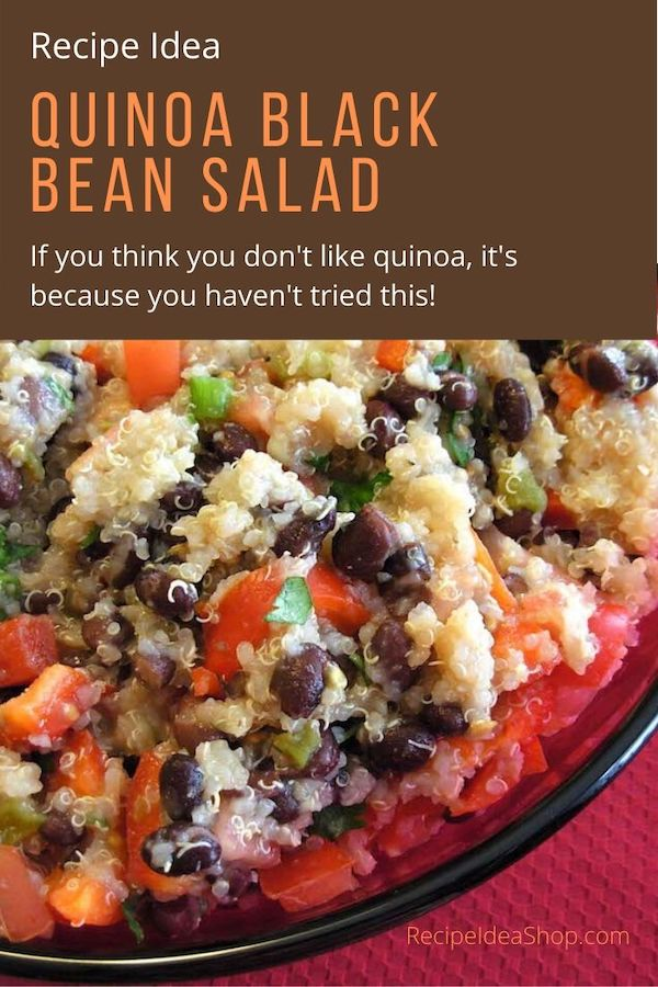 Quinoa & Black Bean Salad. Simple. Amazing. #quinoaandblackbeansalad #quinoa #comfortfood #recipes #vegan #moosewood #recipeideashop