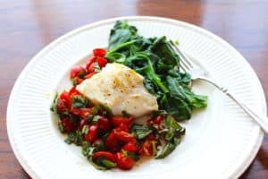 Sautéed Cod with Tomato Basil Chutney and Sautéed Spinach