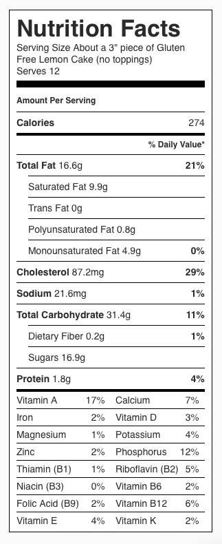 """Nutrition Label for Gluten Free Lemon Cake (no toppings). Each serving is about a 3"""" piece of cake. Recipe serves 12."""