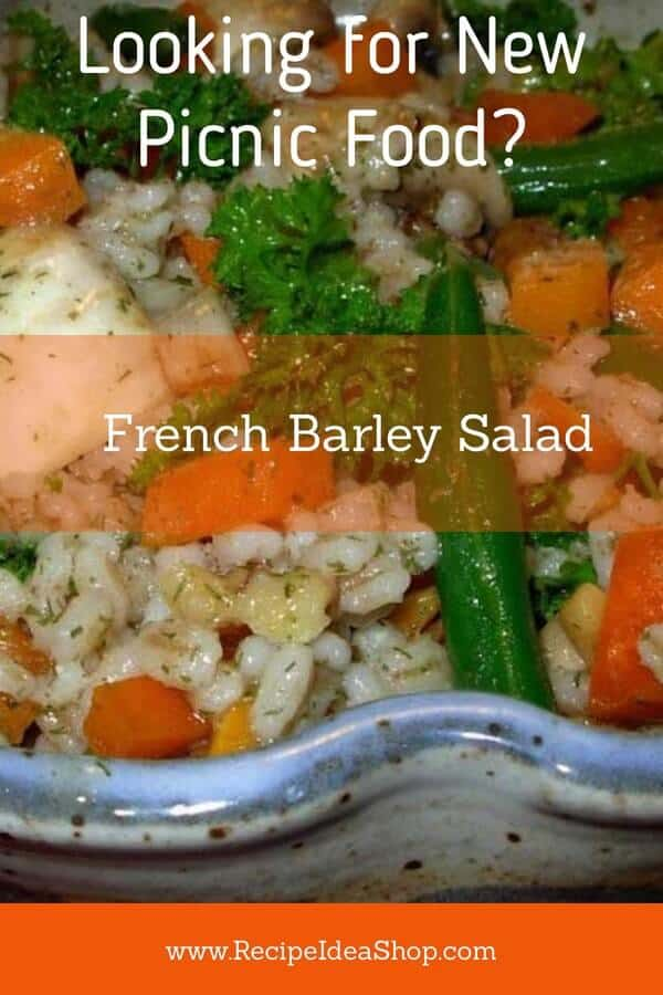 French Barley Salad. Add it to your #recipe-repertoire. Impressive. #FrenchBarleySalad #moosewood #picnicfood #barleyrecipes #recipes #vegan #RecipeIdeaShop