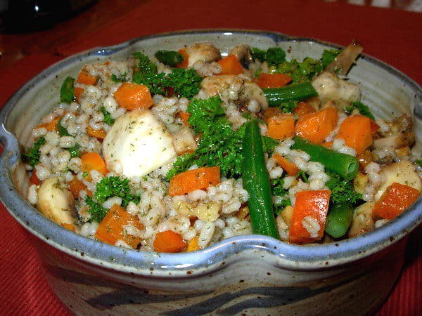 French Barley Salad. Serving dish designed and made by Elizabeth Krome of Quail Run Pottery.