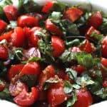 Tomato Basil Chutney. OMG. The best salad or topping for fish, lentils, beans, just about anything. #tomatobasilchutney #tomatobasilrelish #tomatobasilsalad #tomatoesandbasil #glutenfree #dairyfree #vegan #vegetarian #recipes #recipeideashop