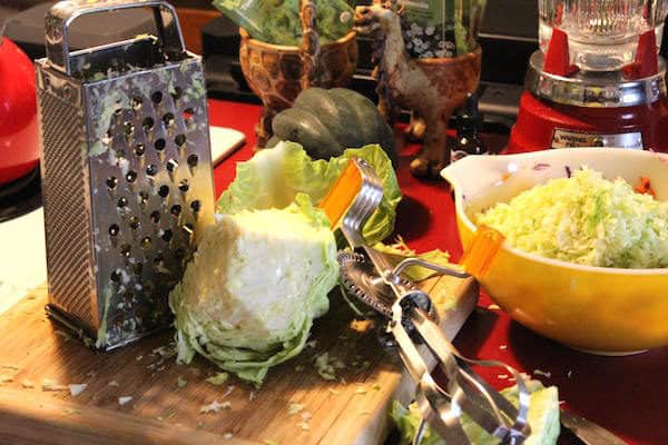 You can use a hand grater or a food processor to grate your cabbage for Coleslaw. Photo courtesy of Kathleen Stinehart.