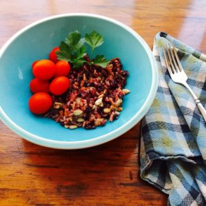 Black and Brown Rice Salad with Seeds and Cranberries.