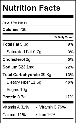 Mediterranean Chickpea Stew Nutrition Label. Each serving is about 1&1/2 cups.