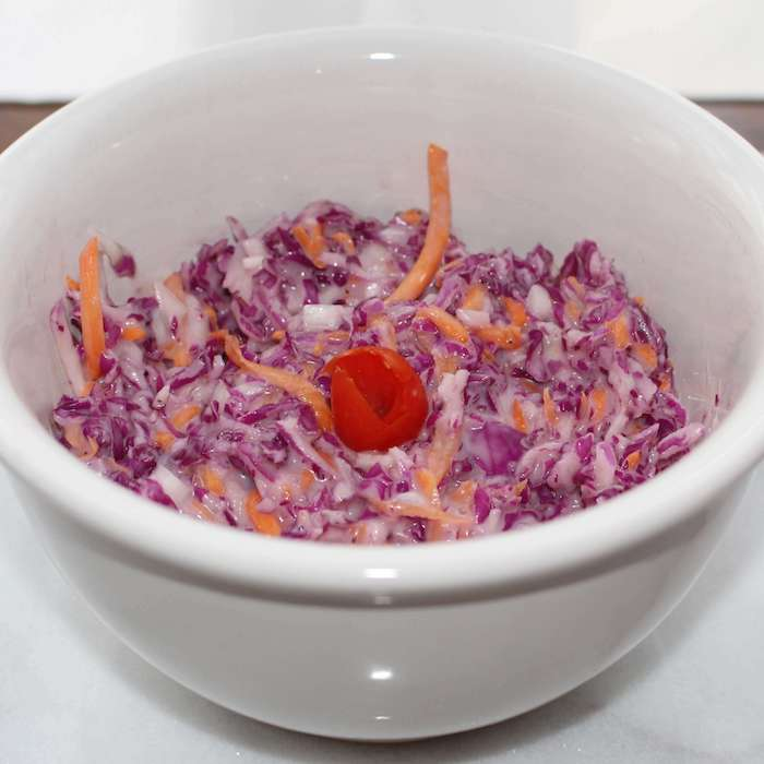Coleslaw made with purple cabbage.