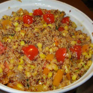 Andean Quinoa Corn Salad is good hot or cold.