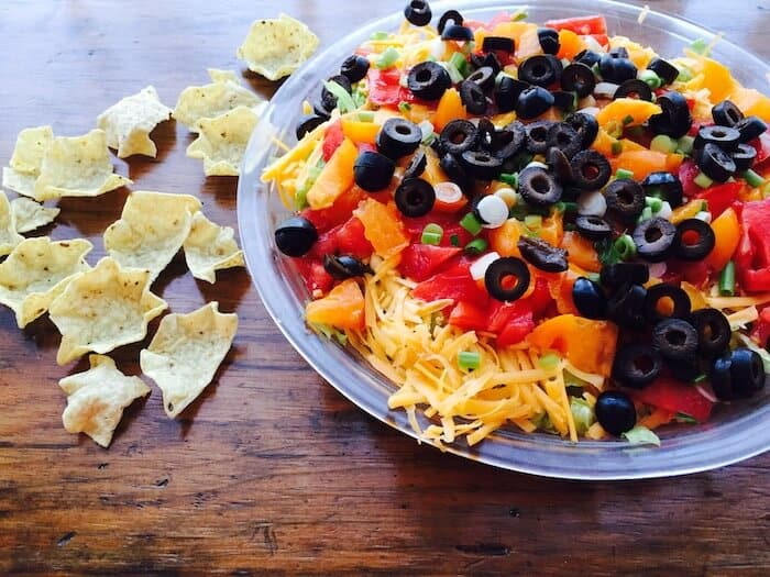 Mexican Layered Dip: So Easy. Serve with chips.