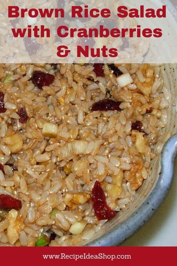 Brown Rice Salad with Cranberries & Nuts. Vegan. Amazing. #brownricesalad; #cranberries; #rice salad; #brownrice; #recipes; #recipeideashop