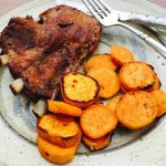 Grilled Sweet Potato Medallions, shown with Dry Rub Ribs, are scrumptious.